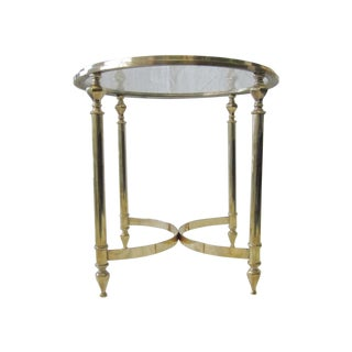 C. 1960's Solid Brass Round Cocktail Table