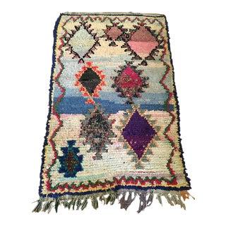 Vintage Moroccan Boucherouite Rug - 4′3″ × 6′8″