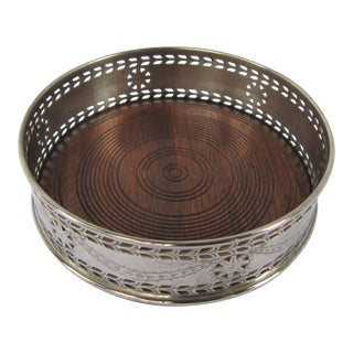 Silver-plate Wine Coaster Wood Insert
