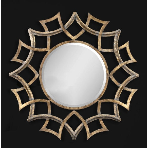 Large metal gold round mirror chairish for Large round gold mirror
