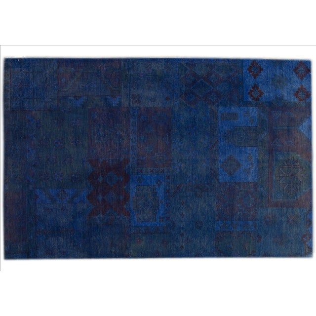 "Image of Vintage Blue Over-Dyed Rug - 5'5"" X 8'5"""
