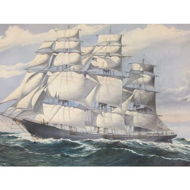 Wendell F. Collum Large Ship Painting - Image 5 of 9