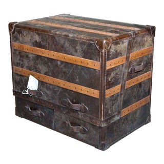 Leather and Cowhide Trunk Desk