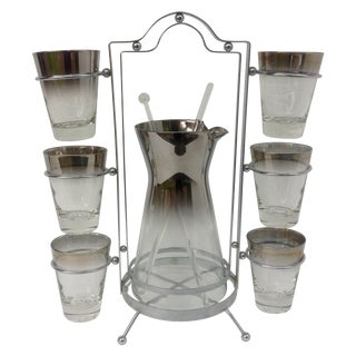Mid-Century Silver Ombre Cocktail Set - Set of 10
