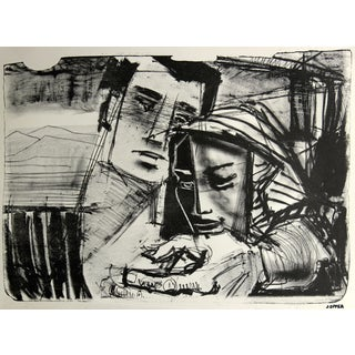 Jerry Opper Mid-Century Lithograph Couple Portrait