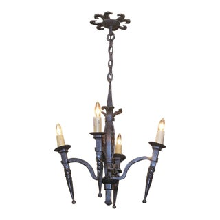 19th Century French Gothic Forged Wrought Iron Four-Light Chandelier