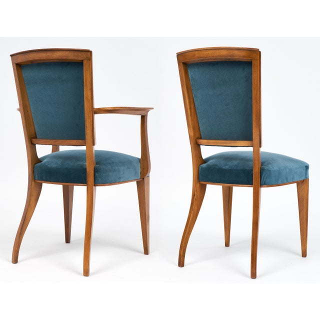 French Art Deco Cherrywood Dining Chairs- Set of 6 - Image 7 of 10