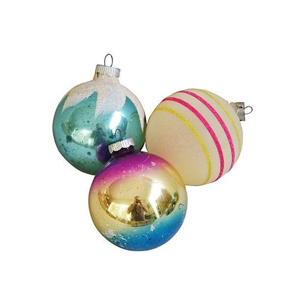 1960s Bright Christmas Ball Ornaments - Set of 12 - Image 2 of 5