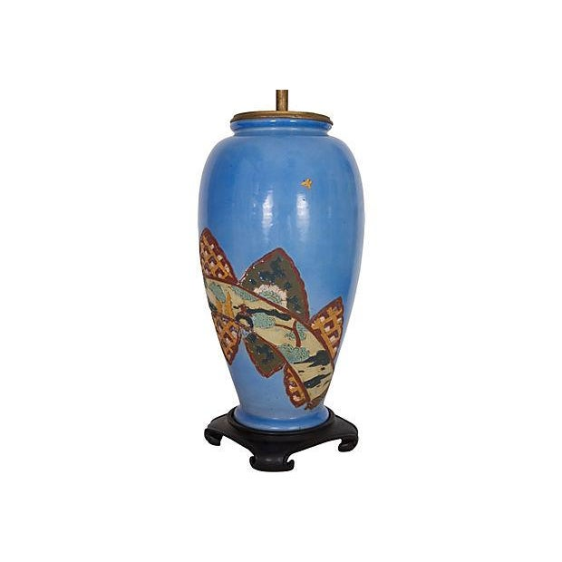 Antique Chinoiserie Blue Vase Lamp - Image 3 of 6