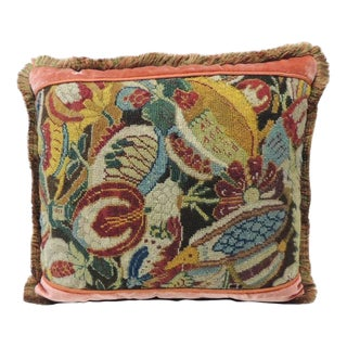 18th Century French Needlework Tapestry Decorative Multi-color Pillow