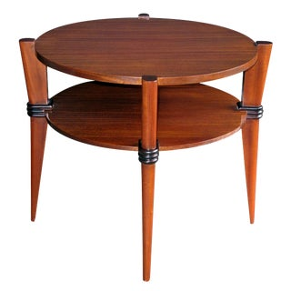 Chic French Ribbon-Mahogany Circular Side Table with Ebonized Highlights