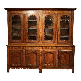 19th Century French Walnut Inlay Four-Door Buffet Cabinet