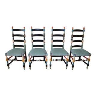 Vintage Hand Painted Turquoise Chenille With Pink Trim Ladder Back Dining Chairs - Set of 4