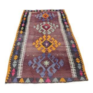 "Vintage Turkish Kilim Rug - 3'3"" X 5'5"""