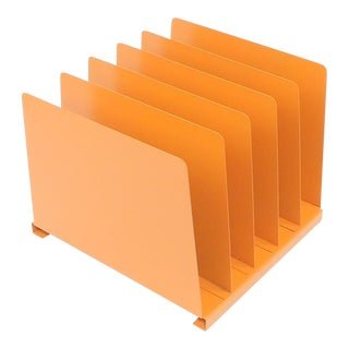 Orange Wooden Desk Organizer - Vinyl Record Rack