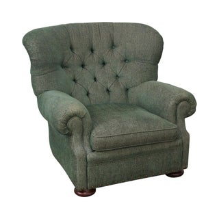 Ralph Lauren Green Tufted Upholstered Writers Chair