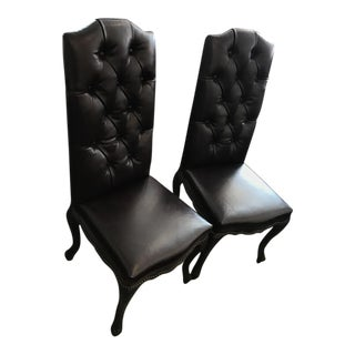 Custom Leather Upholstered Chairs - A Pair