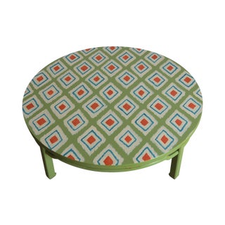 Round Coffee Table with Hand Painted Ikat Design