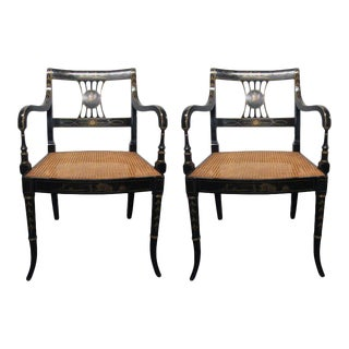 Pair of Sheraton Style Stenciled Armchairs