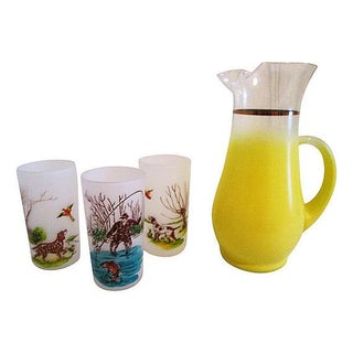 1960s Yellow Fade Pitcher With 3 Glasses