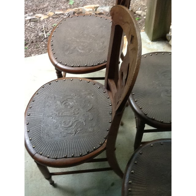 Antique Dining Chairs - Set of 4 - Image 5 of 5