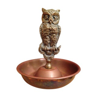 Vintage Brass Owl Ring Tray