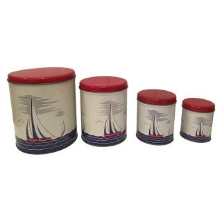 Vintage Tin Litho Sailboat Canisters - Set of 4