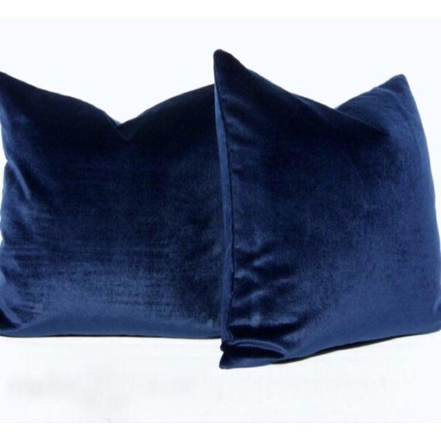 Image of Decorative Midnight Blue Velvet Pillows - Pair