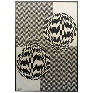 Black and White Op Art Oil on Canvas