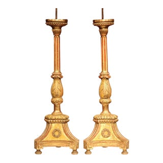 19th Century Italian Carved Altar Sticks With Gold Leaf - A Pair