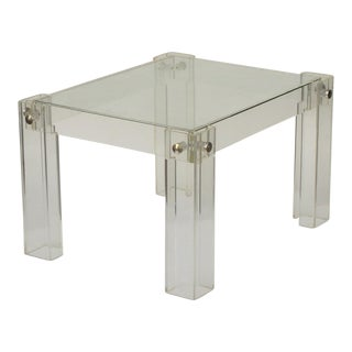 1970's Lucite Side Table With Glass Top