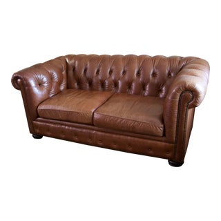 Brown Crocodile Stamp Chesterfield Love Seat