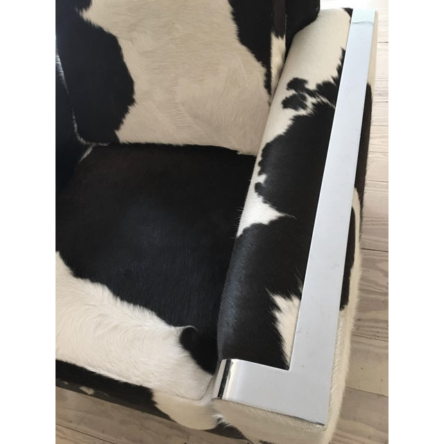 "Vintage Black/White Brazilian Cowhide Chair, ""Re-Visioned"" by FRG - Image 2 of 2"