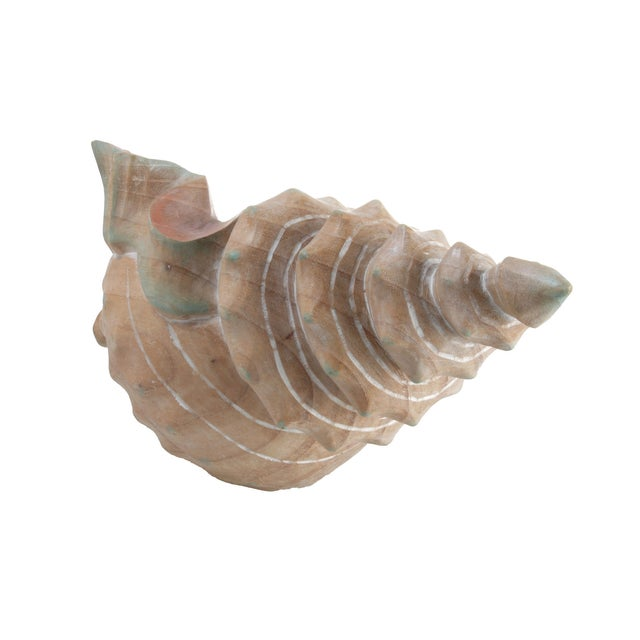 Image of Handcrafted Wooden Seashell Sculpture