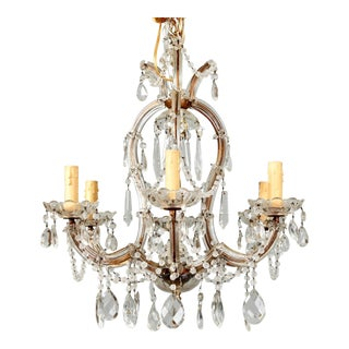 French Heavily Beaded Small Six Light Maria Theresa Chandelier