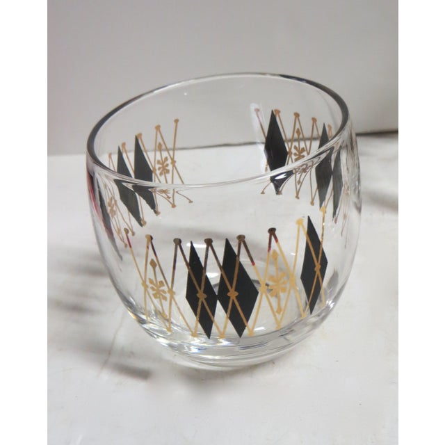 Image of Mid-Century Argyle Bar Glasses - 6 Piece Set