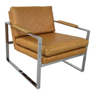 Mid Century Modern Milo Baughman Style Chrome Lounge Chair