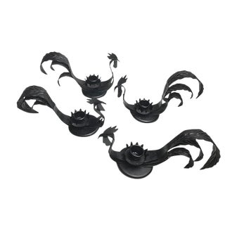 Mid-Century Black Metal Rooster Candle Holders - Set of 4
