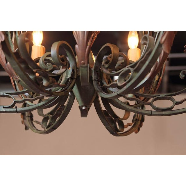 Early 20th Century French Six-Light Iron Chandelier With Verdigris Finish - Image 7 of 10