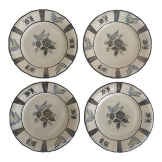 Bavarian Porcelain Butterfly Dessert Plates - Set of 4