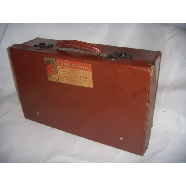 Vintage English Brown Leather Suitcase - Image 7 of 11