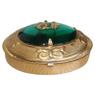 Vintage Emerald Green Royal Crest Brass Oval Box