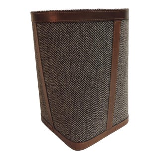 Leather and Wool Square Garbage Can