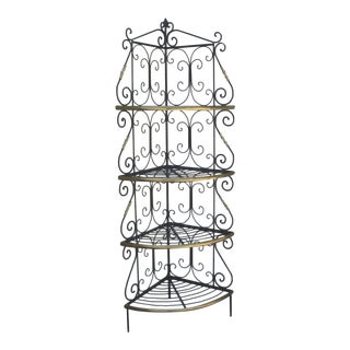 Amazing French Iron and Brass Bakers Corner Shelf