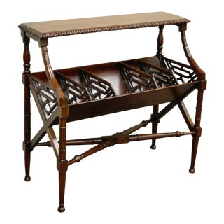 English Chinese Chippendale Style Faux Bamboo Bookcase Magazine Whatnot Stand