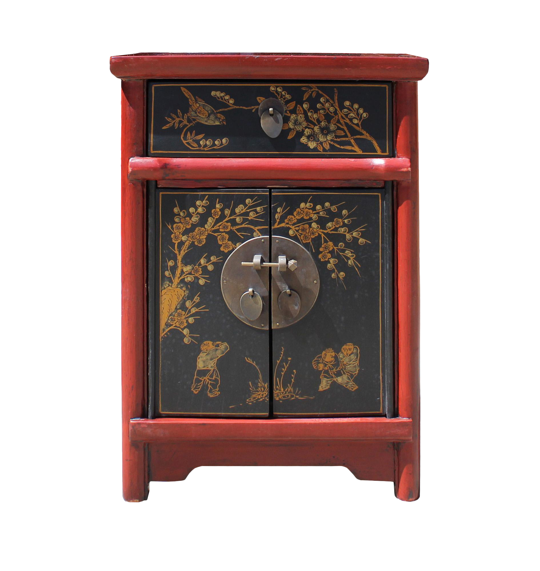 Chinese Rustic Red Black Lacquer Graphic End Table Nightstand