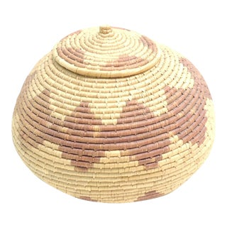 Vintage African Round Woven Basket with Lid