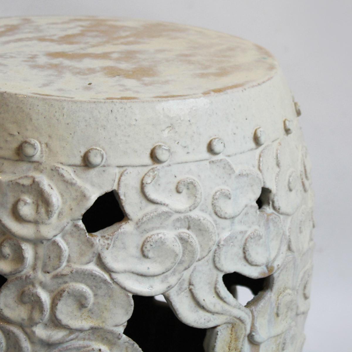 Barrel Form White Ceramic Garden Stool Chairish