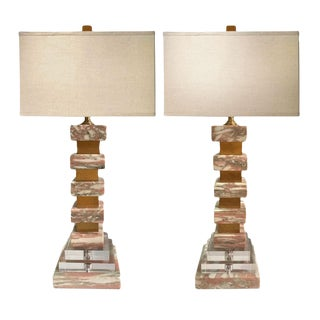 Modern Marble and Lucite Lamps - A Pair