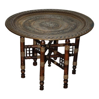 Moroccan Brass & Mother of Pearl Inlay Table